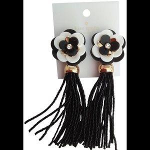 Kate Spade Earrings NWT - B&W Flower Tassels!